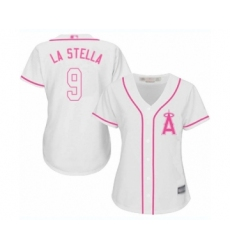 Women's Los Angeles Angels of Anaheim #9 Tommy La Stella Authentic White Fashion Cool Base Baseball Jersey