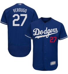 Men's Los Angeles Dodgers #27 Alex Verdugo Blue Flexbase Authentic Collection Stitched Baseball Jersey