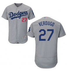 Men's Los Angeles Dodgers #27 Alex Verdugo Grey Flexbase Authentic Collection Stitched Baseball Jersey
