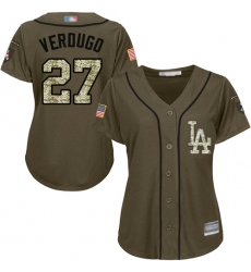 Women's Los Angeles Dodgers #27 Alex Verdugo Green Salute to Service Stitched Baseball Jersey