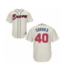 Men's Atlanta Braves #40 Mike Soroka Replica Cream Alternate 2 Cool Base Baseball Jersey
