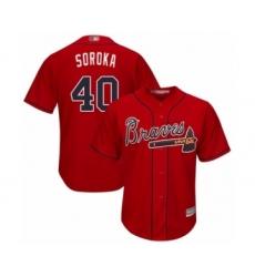 Men's Atlanta Braves #40 Mike Soroka Replica Red Alternate Cool Base Baseball Jersey