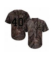 Youth Atlanta Braves #40 Mike Soroka Authentic Camo Realtree Collection Flex Base Baseball Jersey