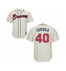 Youth Atlanta Braves #40 Mike Soroka Authentic Cream Alternate 2 Cool Base Baseball Jersey