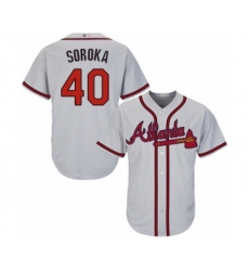 Youth Atlanta Braves #40 Mike Soroka Authentic Grey Road Cool Base Baseball Jersey