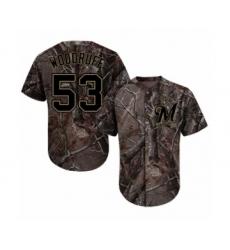 Men's Milwaukee Brewers #53 Brandon Woodruff Authentic Camo Realtree Collection Flex Base Baseball Jersey