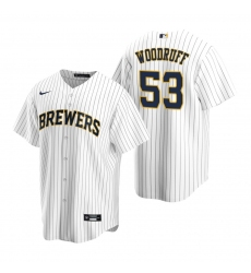 Men's Nike Milwaukee Brewers #53 Brandon Woodruff White Alternate Stitched Baseball Jersey