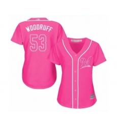 Women's Milwaukee Brewers #53 Brandon Woodruff Authentic Pink Fashion Cool Base Baseball Jersey
