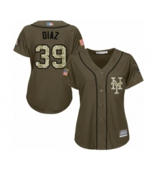 Women's New York Mets #39 Edwin Diaz Authentic Green Salute to Service Baseball Jersey