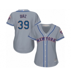 Women's New York Mets #39 Edwin Diaz Authentic Grey Road Cool Base Baseball Jersey