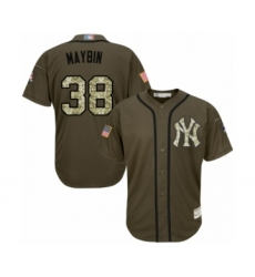 Men's New York Yankees #38 Cameron Maybin Authentic Green Salute to Service Baseball Jersey