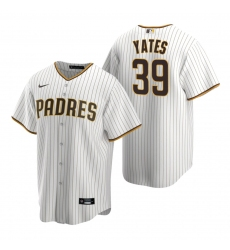 Men's Nike San Diego Padres #39 Kirby Yates White Brown Home Stitched Baseball Jersey