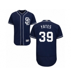 Men's San Diego Padres #39 Kirby Yates Navy Blue Alternate Flex Base Authentic Collection Baseball Jersey