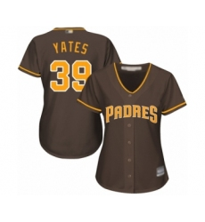 Women's San Diego Padres #39 Kirby Yates Authentic Brown Alternate Cool Base Baseball Jersey