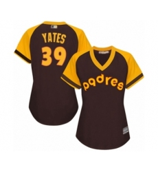 Women's San Diego Padres #39 Kirby Yates Authentic Brown Alternate Cooperstown Cool Base Baseball Jersey
