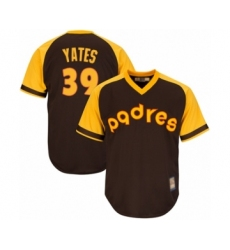Youth San Diego Padres #39 Kirby Yates Authentic Brown Alternate Cooperstown Cool Base Baseball Jersey