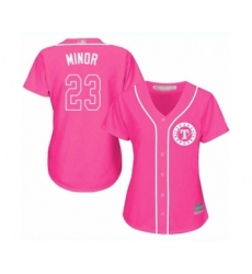Women's Texas Rangers #23 Mike Minor Authentic Pink Fashion Cool Base Baseball Jersey