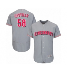 Men's Cincinnati Reds #58 Luis Castillo Grey Road Flex Base Authentic Collection Baseball Jersey