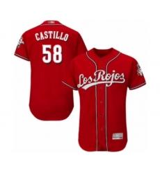 Men's Cincinnati Reds #58 Luis Castillo Red Los Rojos Flexbase Authentic Collection Baseball Jersey