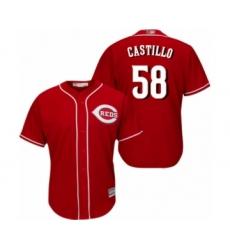 Men's Cincinnati Reds #58 Luis Castillo Replica Red Alternate Cool Base Baseball Jersey