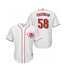 Men's Cincinnati Reds #58 Luis Castillo Replica White Home Cool Base Baseball Jersey