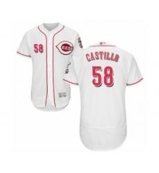 Men's Cincinnati Reds #58 Luis Castillo White Home Flex Base Authentic Collection Baseball Jersey