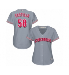 Women's Cincinnati Reds #58 Luis Castillo Authentic Grey Road Cool Base Baseball Jersey