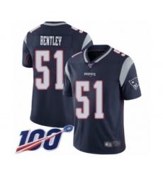 Men's New England Patriots #51 JaWhaun Bentley Navy Blue Team Color Vapor Untouchable Limited Player 100th Season Football Jersey