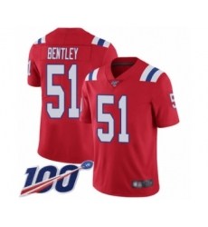 Men's New England Patriots #51 JaWhaun Bentley Red Alternate Vapor Untouchable Limited Player 100th Season Football Jersey