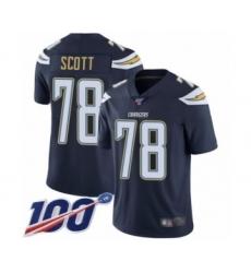 Men's Los Angeles Chargers #78 Trent Scott Navy Blue Team Color Vapor Untouchable Limited Player 100th Season Football Jersey