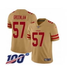 Men's San Francisco 49ers #57 Dre Greenlaw Limited Gold Inverted Legend 100th Season Football Jersey