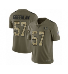 Men's San Francisco 49ers #57 Dre Greenlaw Limited Olive Camo 2017 Salute to Service Football Jersey