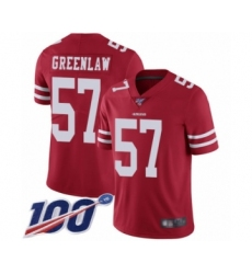 Men's San Francisco 49ers #57 Dre Greenlaw Red Team Color Vapor Untouchable Limited Player 100th Season Football Jersey