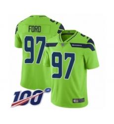 Men's Seattle Seahawks #97 Poona Ford Limited Green Rush Vapor Untouchable 100th Season Football Jersey