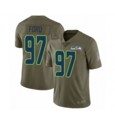 Men's Seattle Seahawks #97 Poona Ford Limited Olive 2017 Salute to Service Football Jersey