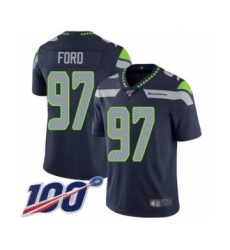 Men's Seattle Seahawks #97 Poona Ford Navy Blue Team Color Vapor Untouchable Limited Player 100th Season Football Jersey