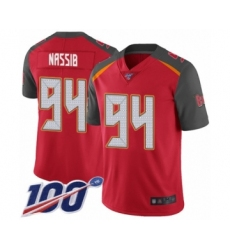 Men's Tampa Bay Buccaneers #94 Carl Nassib Red Team Color Vapor Untouchable Limited Player 100th Season Football Jersey