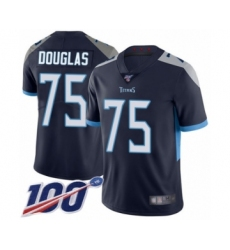 Men's Tennessee Titans #75 Jamil Douglas Navy Blue Team Color Vapor Untouchable Limited Player 100th Season Football Jersey