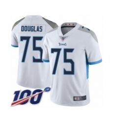 Men's Tennessee Titans #75 Jamil Douglas White Vapor Untouchable Limited Player 100th Season Football Jersey