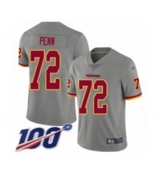 Men's Washington Redskins #72 Donald Penn Limited Gray Inverted Legend 100th Season Football Jersey
