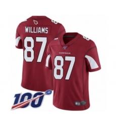 Men's Arizona Cardinals #87 Maxx Williams Red Team Color Vapor Untouchable Limited Player 100th Season Football Jersey