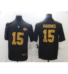Men's Kansas City Chiefs #15 Patrick Mahomes Black Nike Leopard Print Limited Jersey
