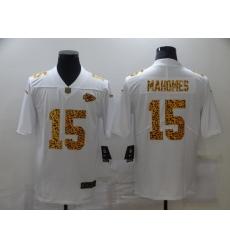 Men's Kansas City Chiefs #15 Patrick Mahomes White Nike Leopard Print Limited Jersey