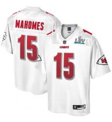 Youth Kansas City Chiefs #15 Patrick Mahomes Pro Line White Super Bowl LIV Champions Jersey