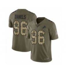 Men's Detroit Lions #96 Mike Daniels Limited Olive Camo Salute to Service Football Jersey