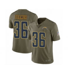 Men's Los Angeles Chargers #36 Roderic Teamer Limited Olive 2017 Salute to Service Football Jersey