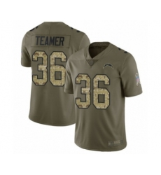 Men's Los Angeles Chargers #36 Roderic Teamer Limited Olive Camo 2017 Salute to Service Football Jersey