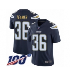 Men's Los Angeles Chargers #36 Roderic Teamer Navy Blue Team Color Vapor Untouchable Limited Player 100th Season Football Jersey