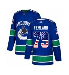 Men's Vancouver Canucks #79 Michael Ferland Authentic Blue USA Flag Fashion Hockey Jersey