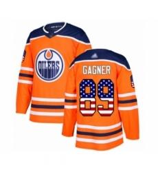 Men's Edmonton Oilers #89 Sam Gagner Authentic Orange USA Flag Fashion Hockey Jersey